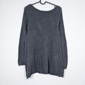 Jeanne Pierre Knit Cotton Sweater Black Size M